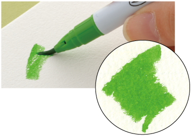Hold the pen at an angle to color wide areas.